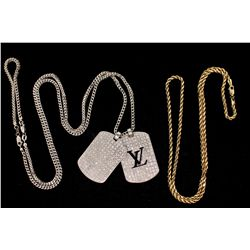 "NECKLACE: [1] Mens 10ky rope chain; 24"" long, 2.89mm, lobster clasp; 7.94 grams. PENDANT: [1] Mens s"