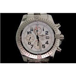 WATCH: [1] Mens st.steel Breitling AeroMarine SuperAvenger chronograph wristwatch; 47.75mm round cas