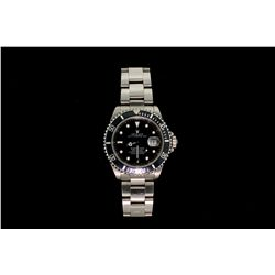 WATCH:  [1] Stainless steel GTS. Rolex Oyster Perpetual Submariner watch with black dial, date, blac