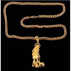 CHAIN & PENDANT:  [1] 14KYG Cuban link chain, 24 inches; and [1] 14KYG religious pendant;  68.2 tota