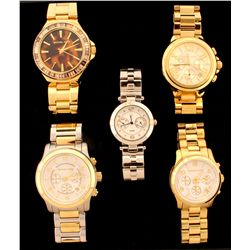 WATCH:  [1] Ladys stainless steel gold tone Michael Kors Camille Chronograph quartz watch with gold