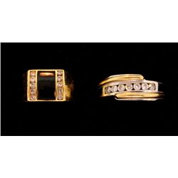 RING:  [1] 14KW & YG ring set with 7 rd diamonds, est. 0.50 cttw., Good, H/I, SI2-I1, size 11;  11.2