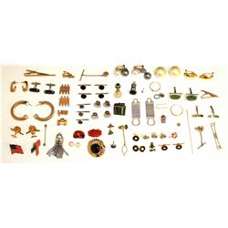 ASSORTED JEWELRY: An assortment of base metal costume jewelry and 1 baroque pearl and 1 piece of car