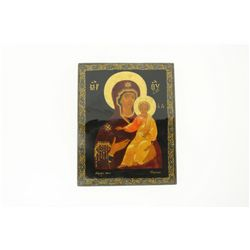 ICON: [1] Russian black lacquer icon, The Mother of God; depicting the mother and child with gold le