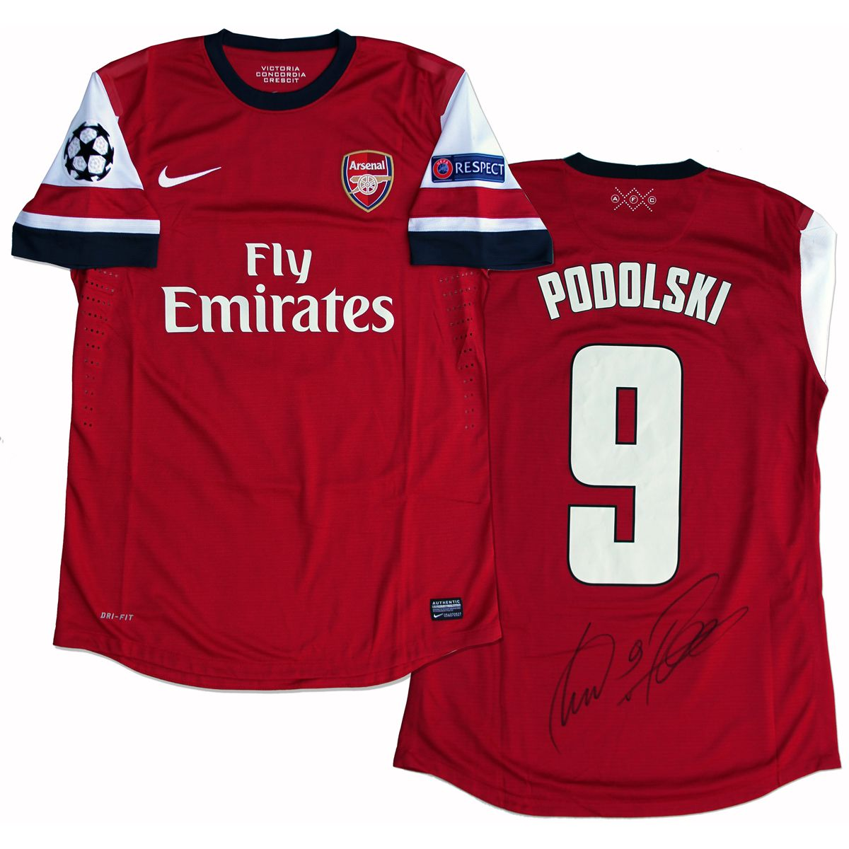 best website 20cd3 54a5d Lukas Podolski Match-Worn Arsenal Home Jersey Signed ...