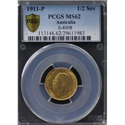 Australia Half Sovereign 1911 P PCGS MS 62