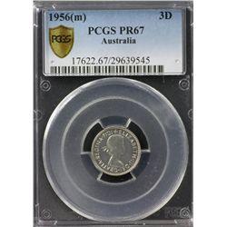 Australia Threepence 1956 PCGS PR 67