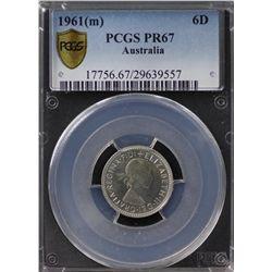 Australia Sixpence 1961 PCGS PR 67