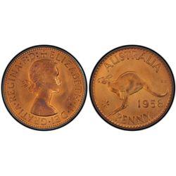 Australia Penny 1958 P PCGS PR 65 RB