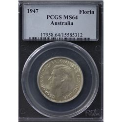 Australia Florin 1947 PCGS MS 64