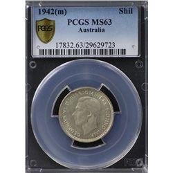 Australia Shilling 1942 PCGS MS 63