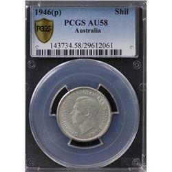 Australia Shilling 1946 Perth PCGS AU 58