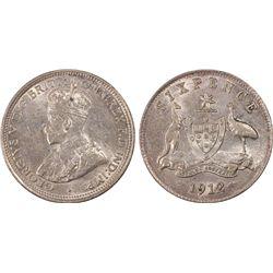Australia Sixpence 1912 PCGS AU 58