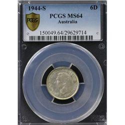 Australia Sixpence 1944S PCGS MS 64
