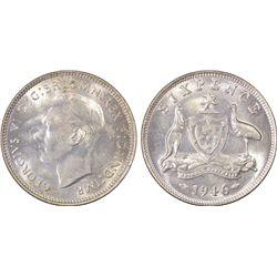 Australia Sixpence 1946 PCGS MS 64