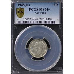 Australia Sixpence 1948 PCGS MS 64 Plus