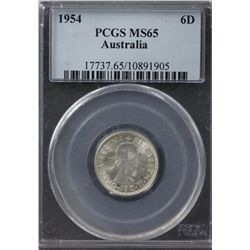 Australia Sixpence 1954 PCGS MS 65