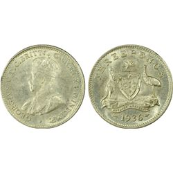 Australia Threepence 1936 PCGS MS 63