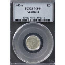 Australia Threepence 1943 S PCGs MS 64