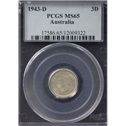 Australia Threepence 1943D PCGS MS 65