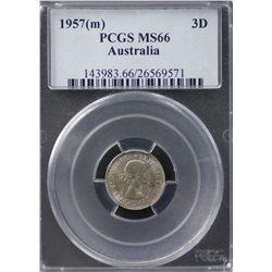 Australia Threepence 1957 PCGS MS 66