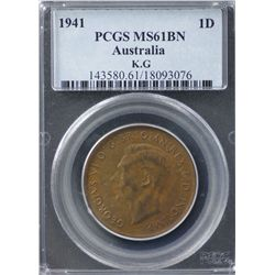 Australia Penny 1941 KG PCGS MS 61 BN