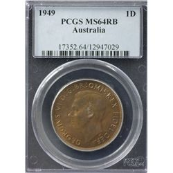 Australia Penny 1949 PCGS MS 64 RB