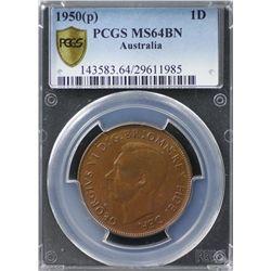 Australia Penny 1950 P PCGS MS 64 BN