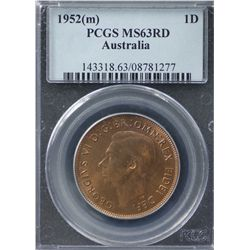 Australia Penny 1952 PCGS MS 63 Red