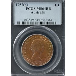 Australia Penny 1957 P PCGS MS 64 RB