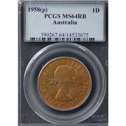 Australia Penny 1958 P PCGS MS 64 RB