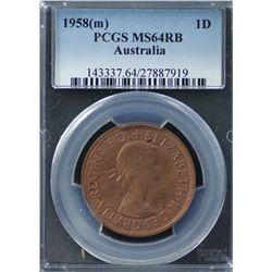Australia Penny 1958 PCGS MS 64 RB