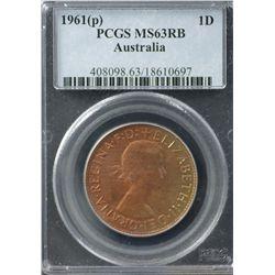 Australia Penny 1961 P PCGS MS 63 RB