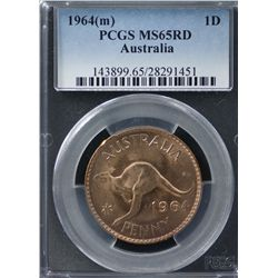 Australia Penny 1964 MS 65 Red