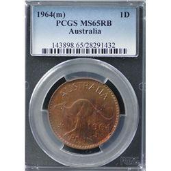 Australia Penny 1964 PCGS MS 65 RB