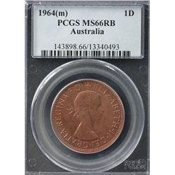 Australia Penny 1964 PCGS MS 66 RB