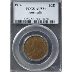 Australia Halfpenny 1914 PCGS AU 58 Plus