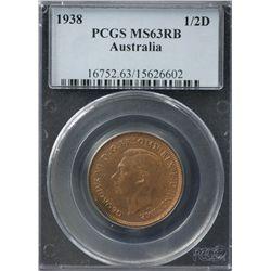 Australia Halfpenny 1938 PCGS MS 63 RB