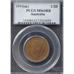 Australia Halfpenny 1941 PCGS MS 63 RB