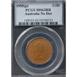 Australia Halfpenny 1955P MS 63 RB