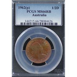 Australia Halfpenny 1962(p) MS 66 RB