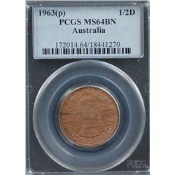 Australia Halfpenny 1963P MS 64 BN