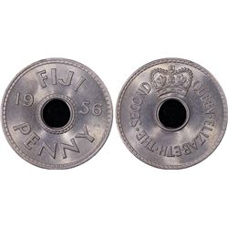 Fiji 1d 1956 PCGS MS 66