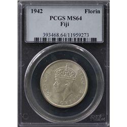 Fiji Florin 1942s PCGS MS 64