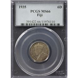 Fiji Sixpence 1935 PCGS MS 66