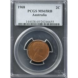 Australia 2c 1968 PCGS MS 65 RB