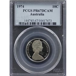 1974 10c PCGS PR67DCAM