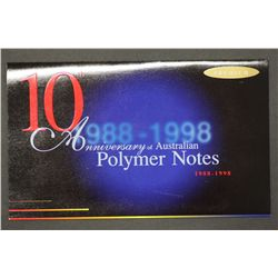 1998 Premium $10 anniversary of 1988 $10 Note in folder