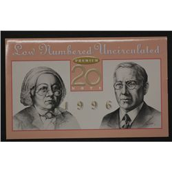 1996 Premium $20 Note in folder
