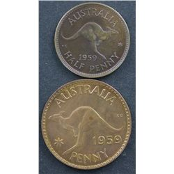 1959 Penny & Half Penny Proofs
